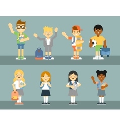 School pupil with backpack set vector