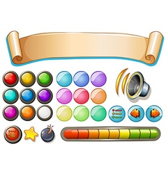 Set of game elements with banner and buttons vector image