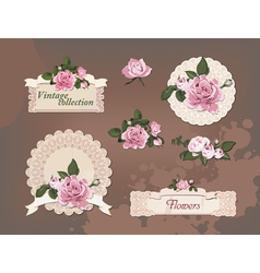 Vintage collection of beautiful roses vector