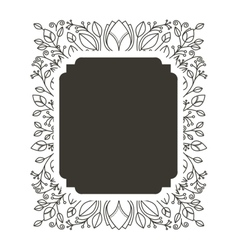 Silhouette rectangle border heraldic with vector