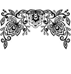 Black and white lace flowers and leaves isolated o vector
