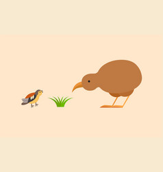 kiwi and bird flat icon vector image
