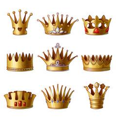 Cartoon royal gold crowns collection vector