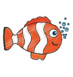 cute ornamental fish icon vector image