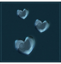 Heart made of glass on grunge background vector