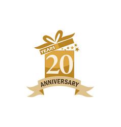 20 years gift box ribbon anniversary vector