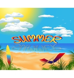 Summer card with sea view vector