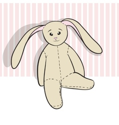 Hand drawing rag bunny sitting isolated vector