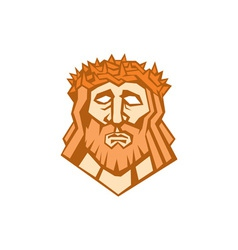 Jesus christ face crown thorns retro vector