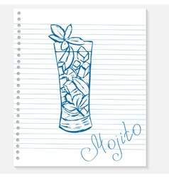 Sketch of a mojito cocktail on notebook sheet vector