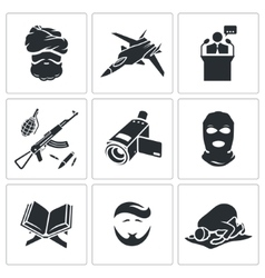 Crime and religion icons set vector