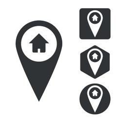 Address marker icon set monochrome vector