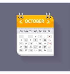 Calendar october flat design vector