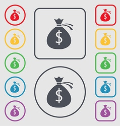 Money bag icon sign symbols on the round and vector