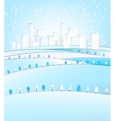 03 city winter landscape vector