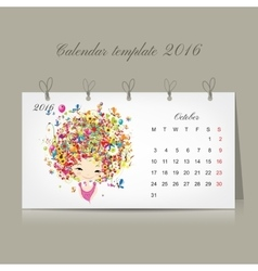 Calendar 2016 october month season girls design vector