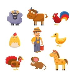 Farm animal collection colourful vector