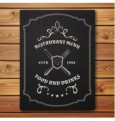 Vintage restaurant or cafe menu template vector