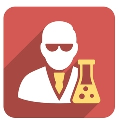 Scientist with flask flat rounded square icon with vector