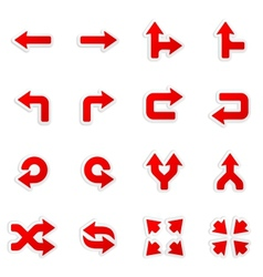 Arrows stickers in icons set vector image