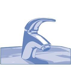 Blue faucet vector