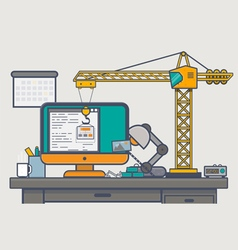 Building website with crane vector