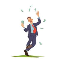 Businessman throwing up money vector