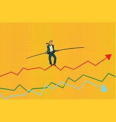 Businessman tightrope walke schedule of sales vector