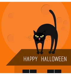 Cat arch back Kitty on roof Yellow eyes fangs curl vector image