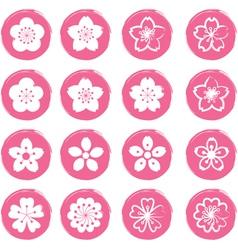 Cherry blossoms or sakura flowers icons set vector