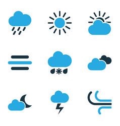 climate colored icons set collection of wind vector image