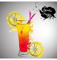 Cocktail with color splash vector