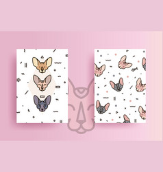 Covers for phone with cats and geometric shapes vector