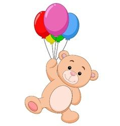 Cute bear cartoon with balloon vector image