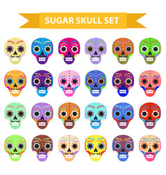 day of the dead holiday in mexico icons set with vector image