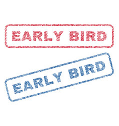 Early bird textile stamps vector
