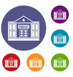 Embassy icons set vector