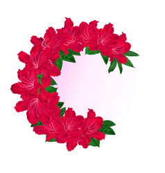 Festive frame bouquet red rhododendrons vintage vector
