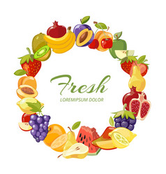 fruits healthy eating frame isolated over vector image vector image