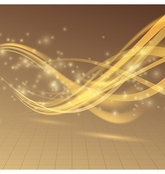 Golden bright shimmering energy wave lines vector