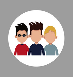 Groupe male young people vector