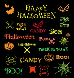halloween icons logos design elements and text vector image