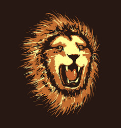 Head of angry lion vector