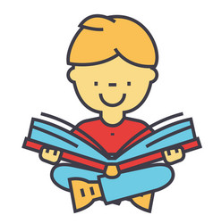 Kid reading a book concept line icon vector
