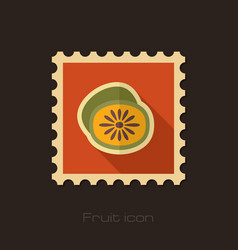 Kiwi flat stamp tropical fruit vector