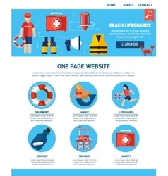 Life guard one page website design vector