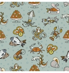 Marine life seamless pattern vector image vector image