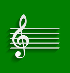 Music violin clef sign g-clef paper vector