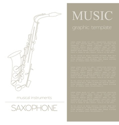 Musical instruments graphic template saxophone vector