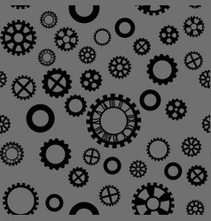 Pattern with black gears on a dark gray background vector